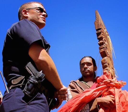 Mauna Kea police and protestor