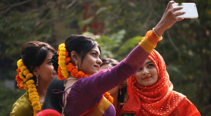 Indian women taking selfie