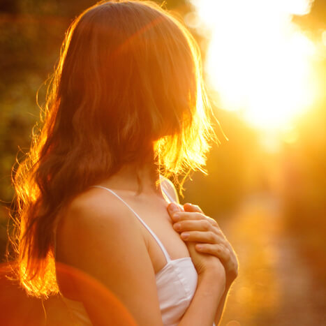 Hands on Heart in Sunlight