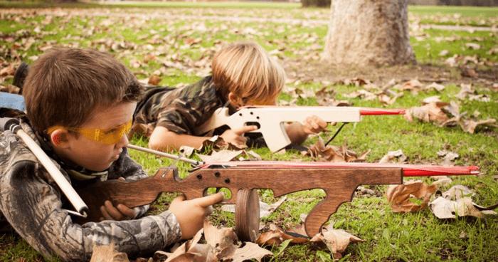 Children playing war game