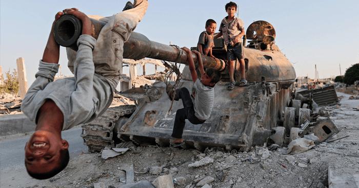 Children with tank