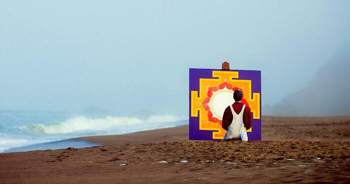 Ekhabumi painting yantra on beach