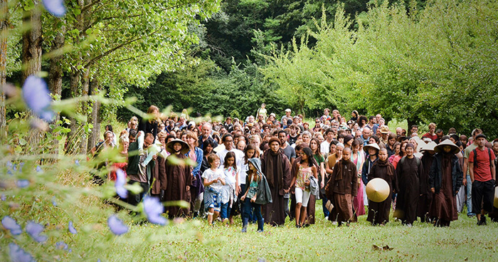 Thay and followers at Plum Village