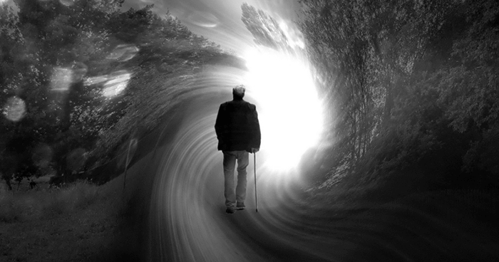 Old man approaching 'the light'