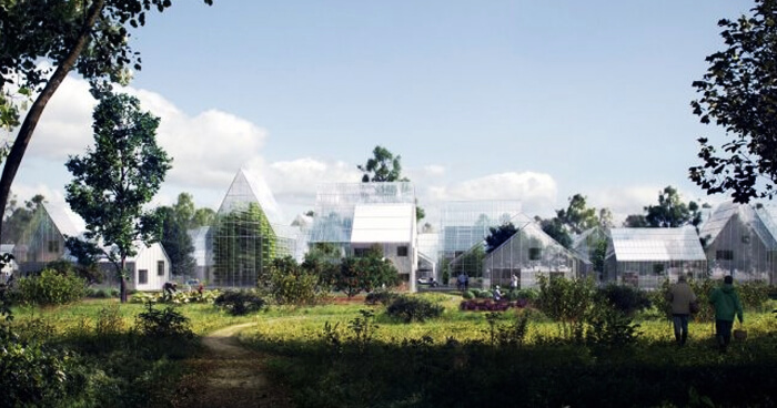 Greenhouses for growing food and recycling waste