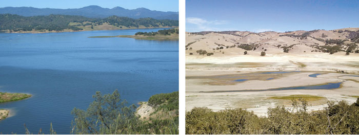 Lake San Antonio before and during drought