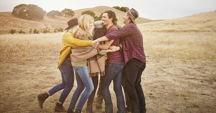 Friends group hug