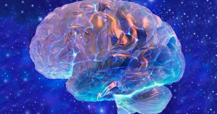 Glowing brain with stars