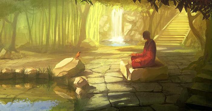Monk meditating on rock