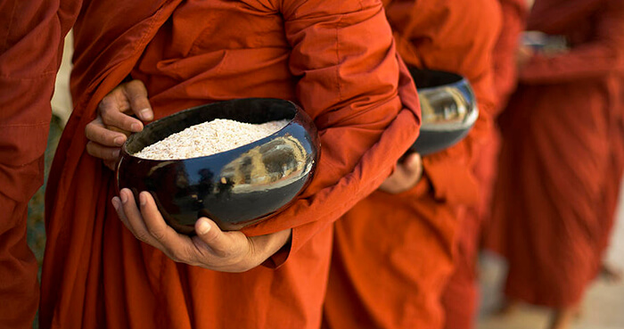 The Buddha and the monks and nuns of his time did not own anything except their three robes and one bowl