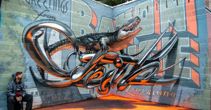 Alligator street art