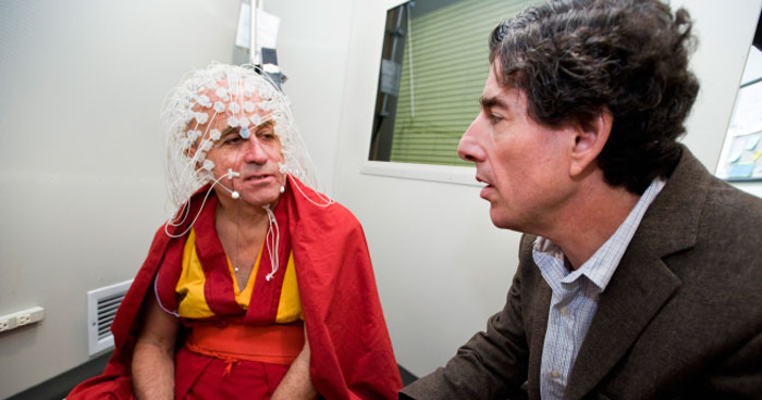 Richard Davidson with monk